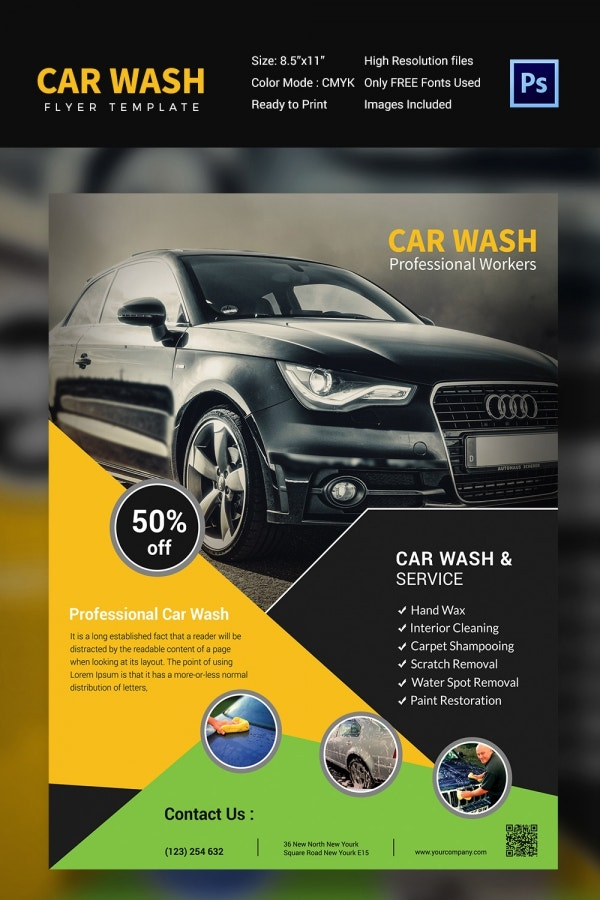 Professional Workers Car Wash Template