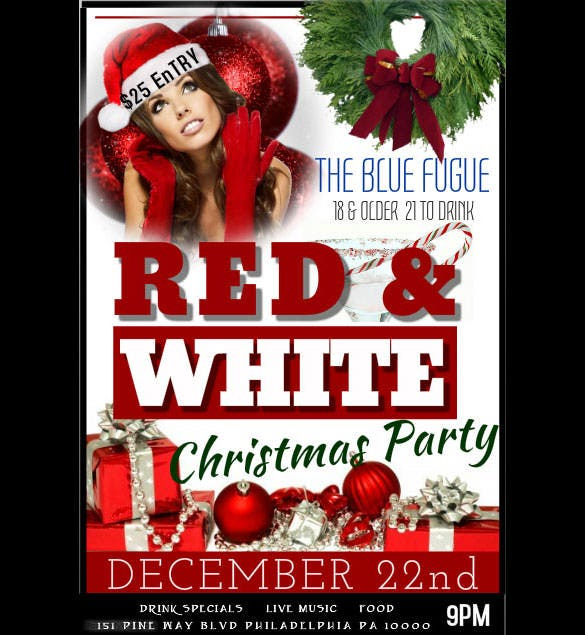 create your red white christmas party flyer template