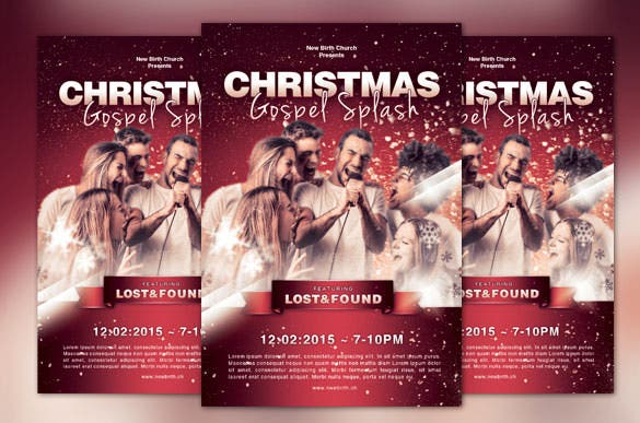 christmas gospel splash church flyer psd format
