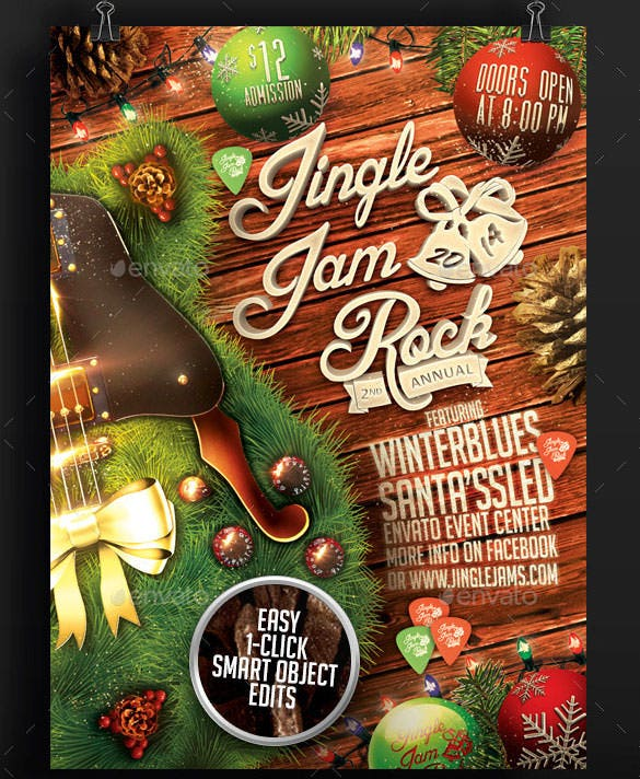 jingle jam rock christmas flyer template psd design