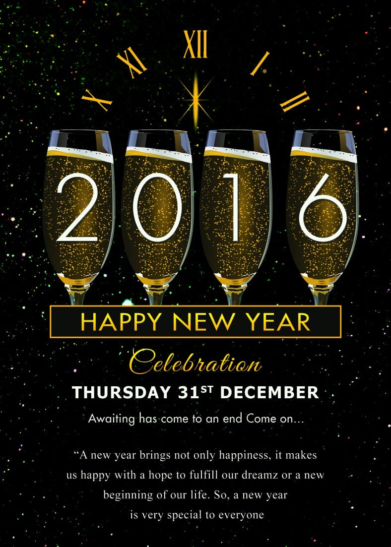 Happy New Year Celebration Invitation card
