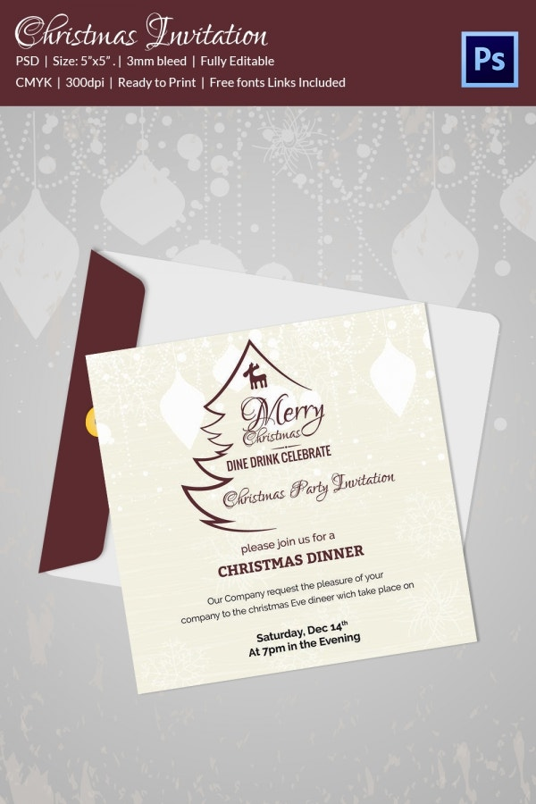 Holiday Christmas Party Invite Template PSD Format