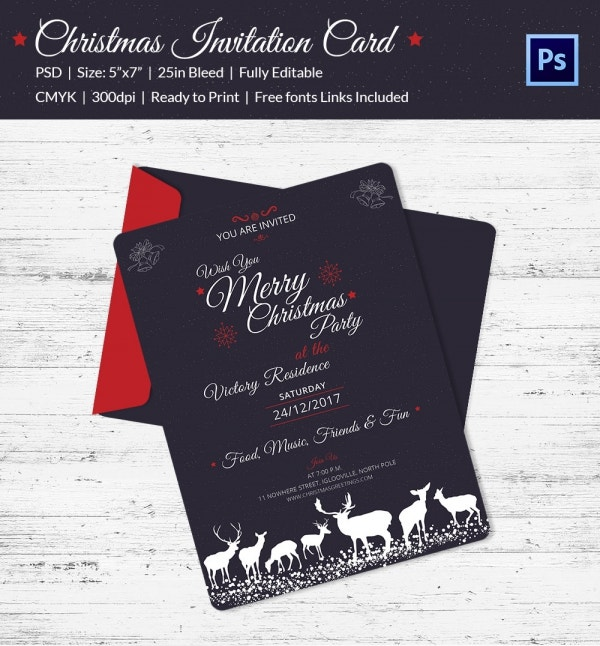 christmas party invitation template photoshop download