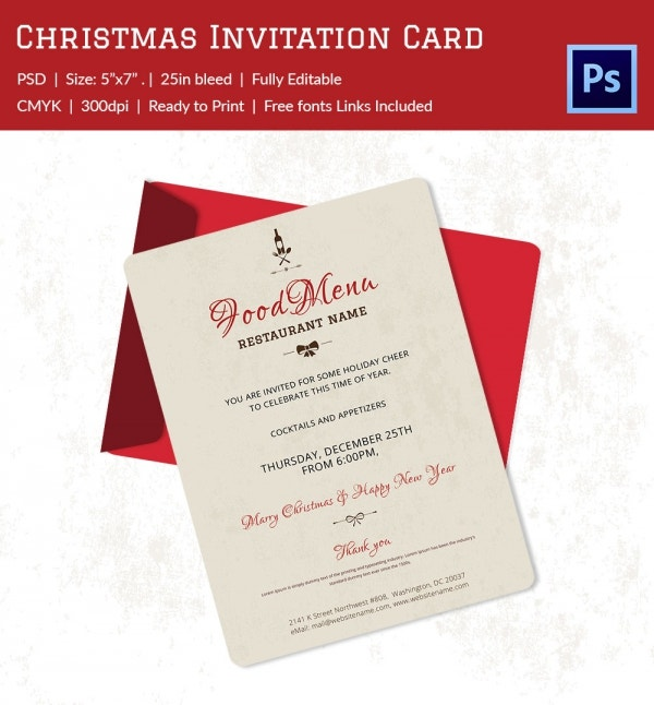 Christmas Invitation Template   Free Psd Eps Vector Ai