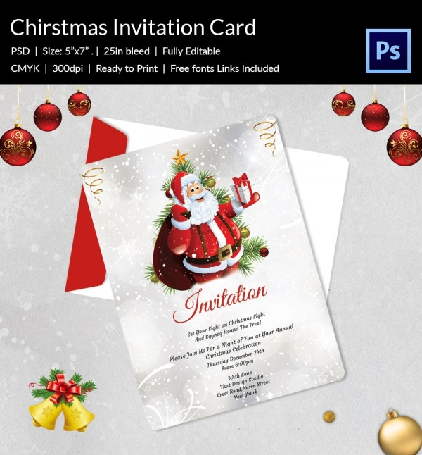 Christmas Dinner Party Flyer Invite Template PSD Design