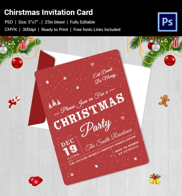 elegant christmas party red custom invitation template