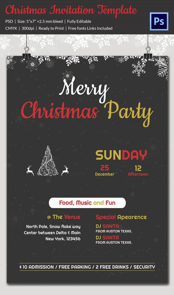 Christmas Invitation Template 27 Free PSD EPS Vector AI – Christmas Party Invitation Templates Free Download