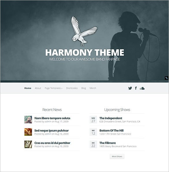 harmony band wordpress theme
