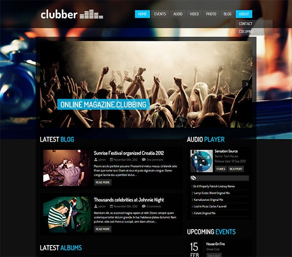 clubber events music wordpress theme