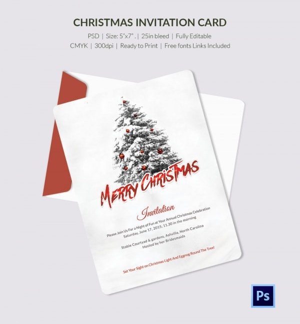 Red Colour Merry Christmas Invitation Card