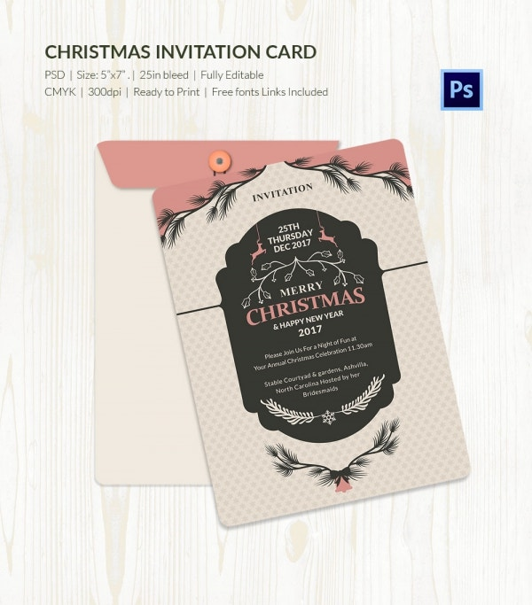 Beautiful Christmas Invitation Card PSD
