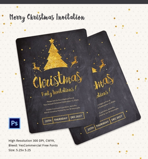 Merry Christmas Party Invitation PSD