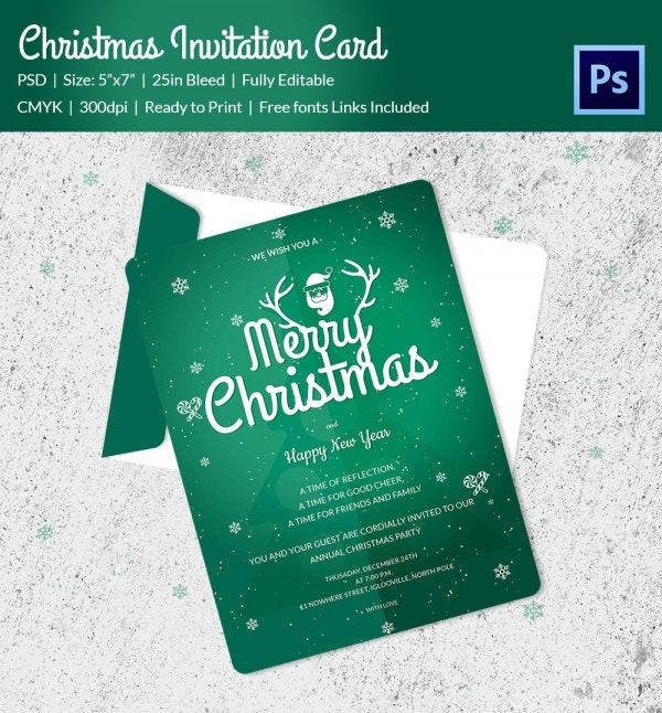 green colour psd christmas invitation card