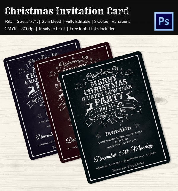 Colourful Christmas Invitation Card PSD