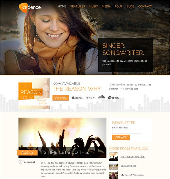 cadence – wordpress music theme