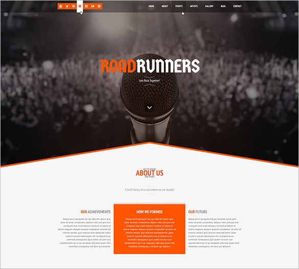 roadrunners – a one page music wordpress theme