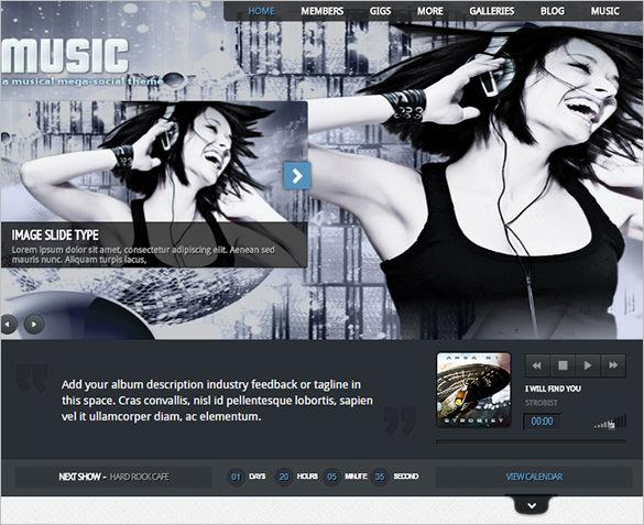 musicians theme facebook app