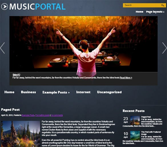 free musicportal wordpress theme