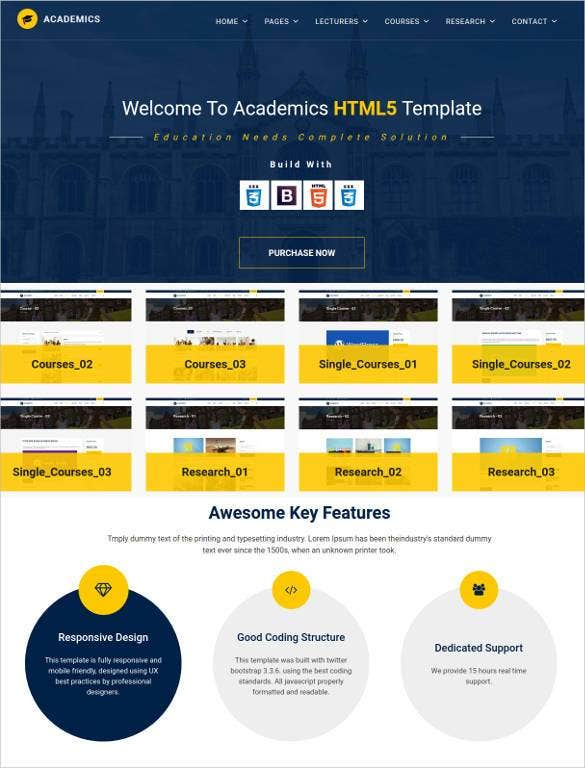 academics website template with html css 1