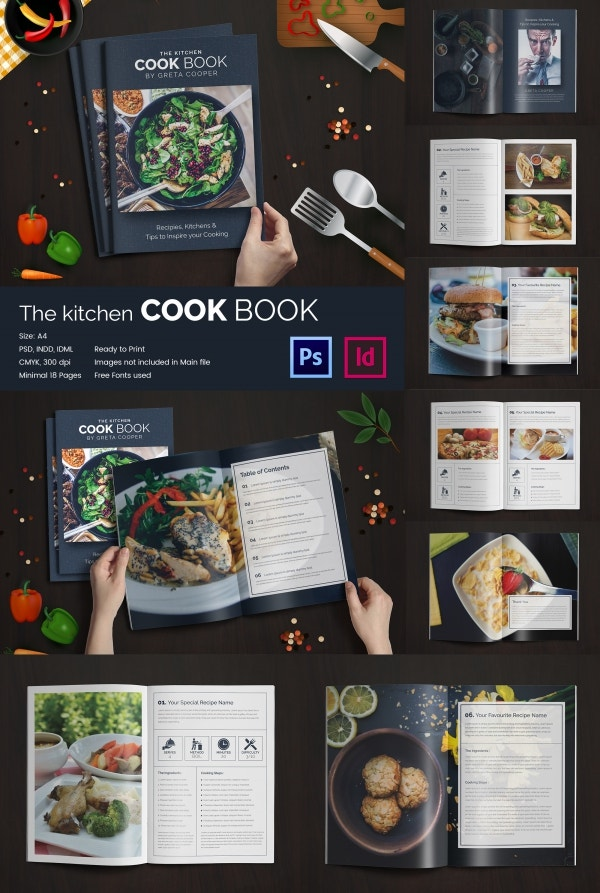 Cookbook template 31 free psd eps indesign word pdf format kitchen cookbook indesign and psd catalog template forumfinder Gallery