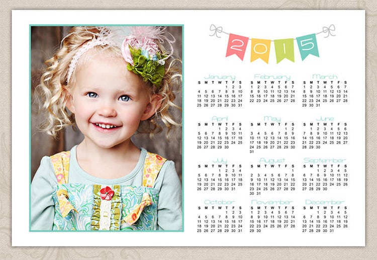 2015 bunting yearly photo calendar
