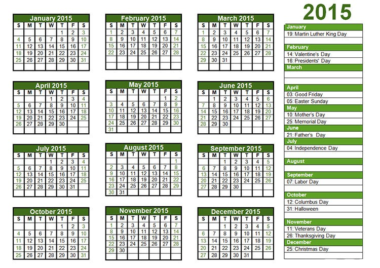 2015 calendar template with us holidays