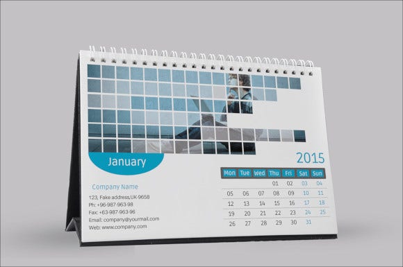 2015 corporate desk calendar template
