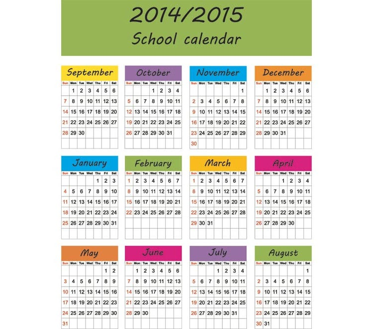 2015 school diary pages vector calendar template illustration