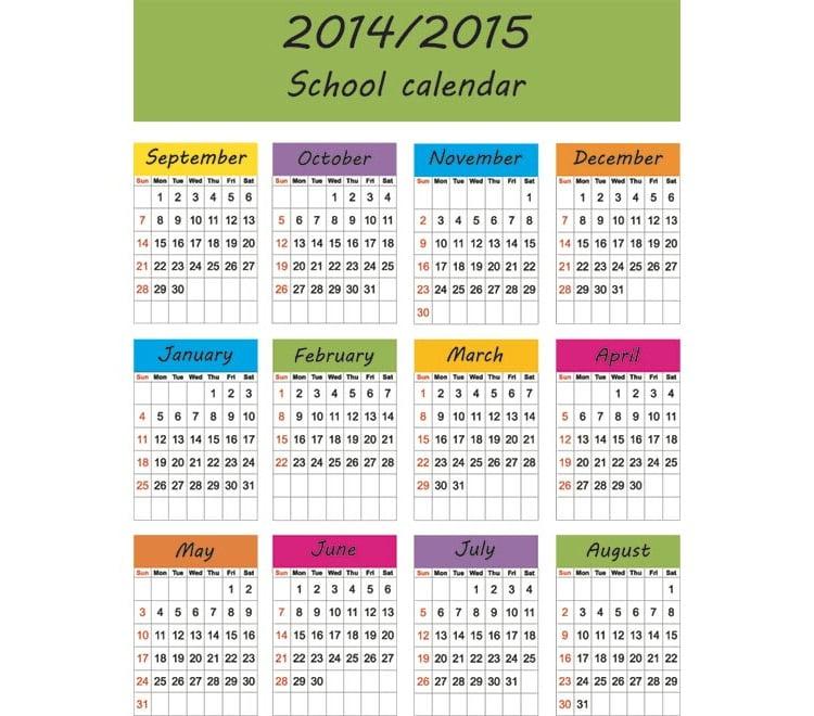 2014 2015 Academic Calendar Template - Contegri.Com