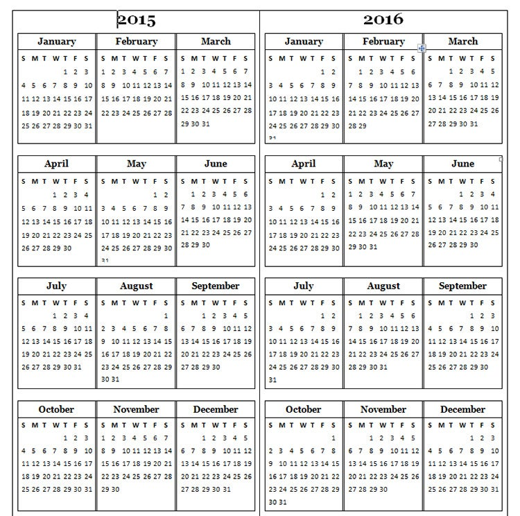 2015 yearly calendar two years 2015 2016 calendar in one page