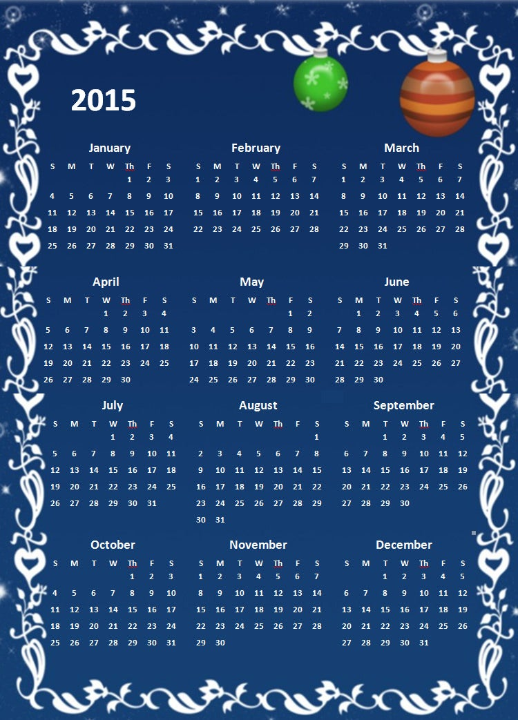 2015 yearly calendar template in portrait format