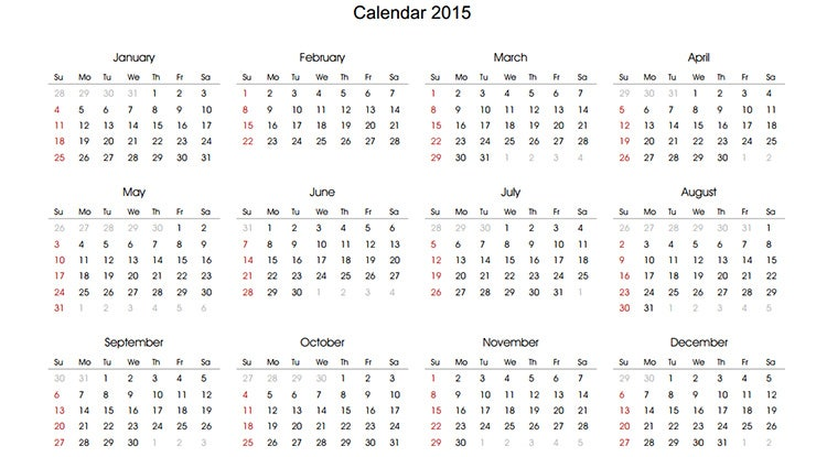 2015 yearly calendar template with spaces for every day notes1