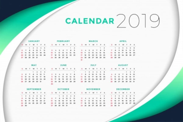 2019 business calendar design