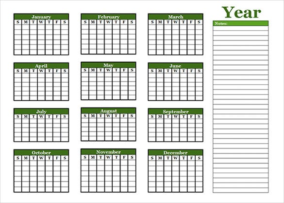 yearly blank calendar with holidays