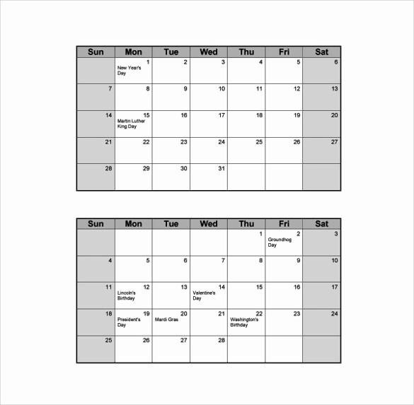 blank calendars template
