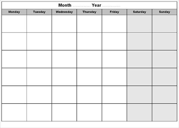 blank calendar landscape