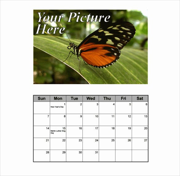 monthly portrait calendar with picture