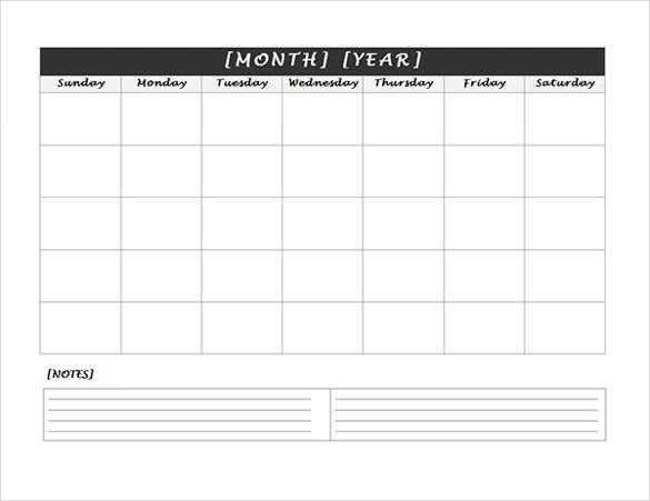 Weekly Calendar With Notes : Blank calendar template free premium templates