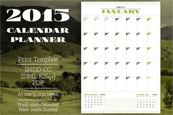 2015 yearly blank calendar template