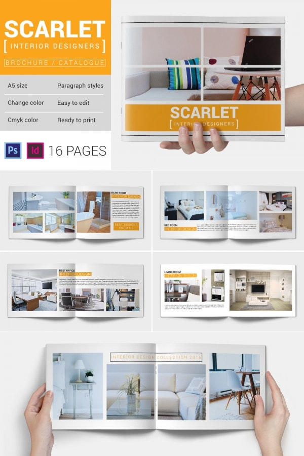 Interior design brochure 25 free psd eps indesign for Furniture catalogue