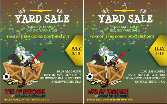full of goodies yard sale flyer