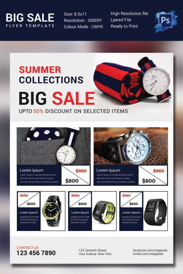 Watches Big Sale Flyer Template