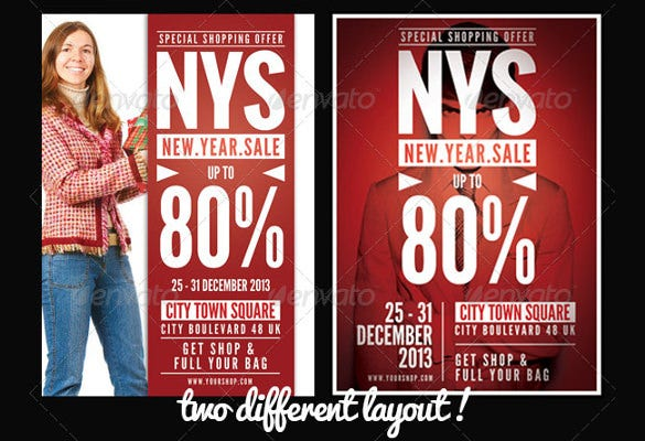 minimal new year sale flyer