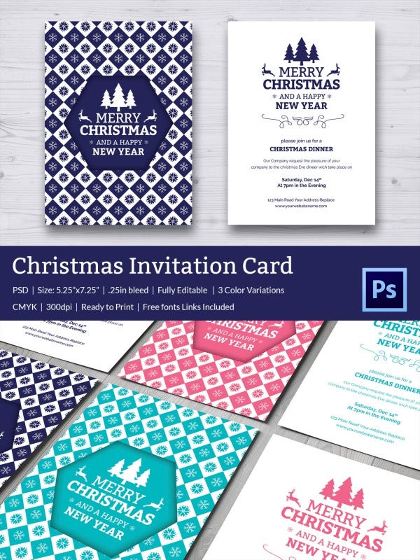 Merry Christmas Dinner Invitation