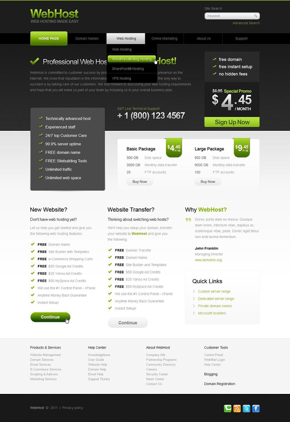 best web hosting website templates themes free premium temp