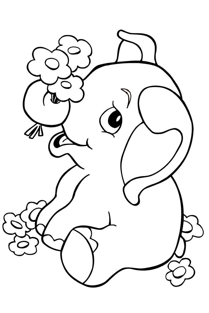 This is a picture of Clean Elephant Coloring Pages Printable