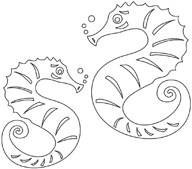 40 seahorse shape templates crafts colouring pages free