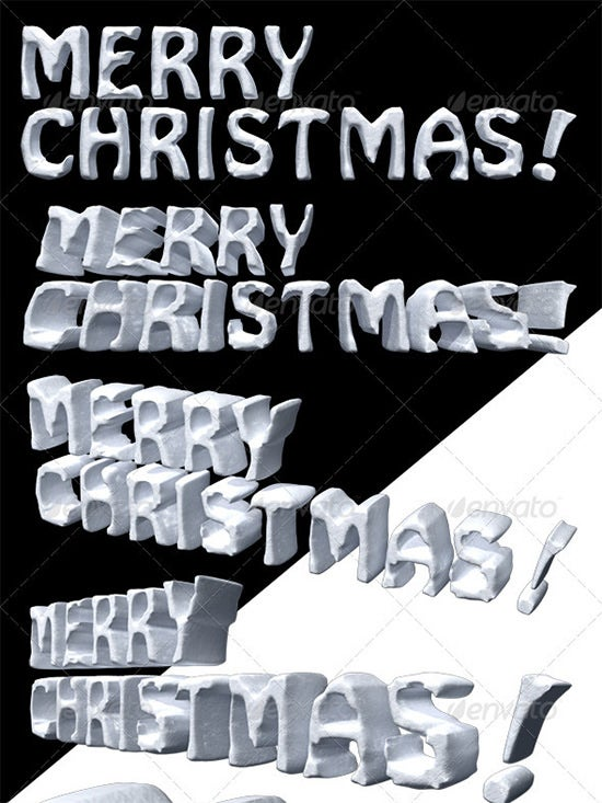 3d render of merry christmas in snow texture