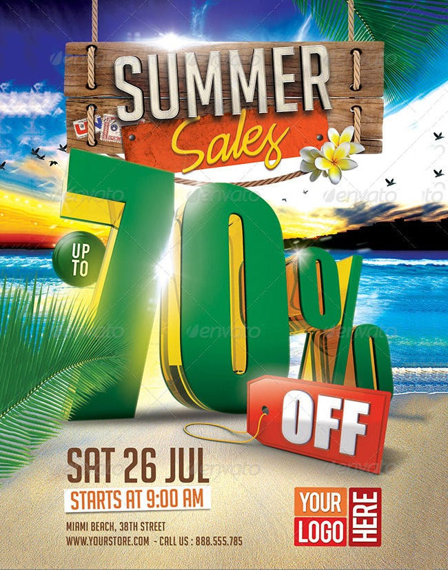 3d summer sales flyer template