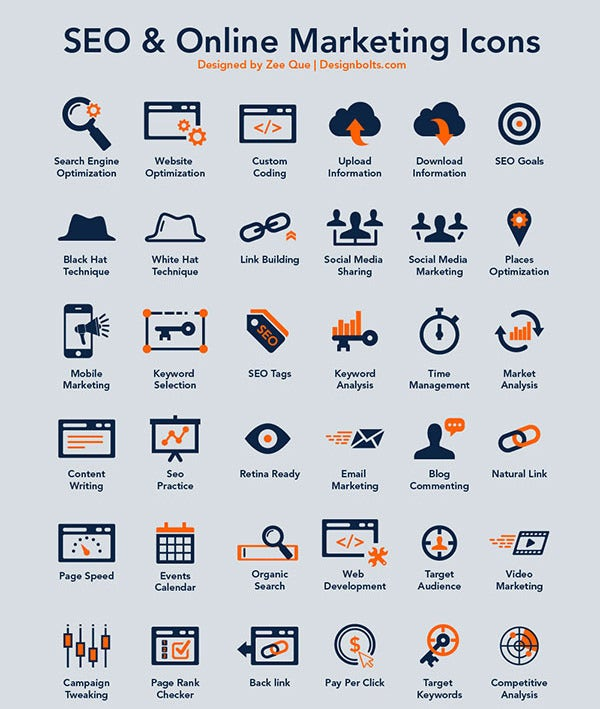 40 free seo online marketing icons